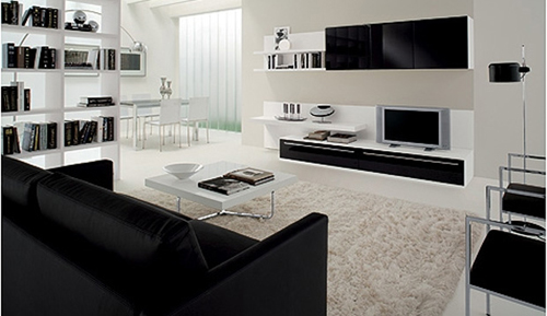 Black And White Modern Living Room Furniture Modern House